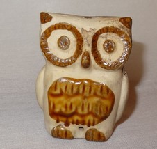 Vintage Owl Earth Ware Brown Burned Look Damaged - $8.52