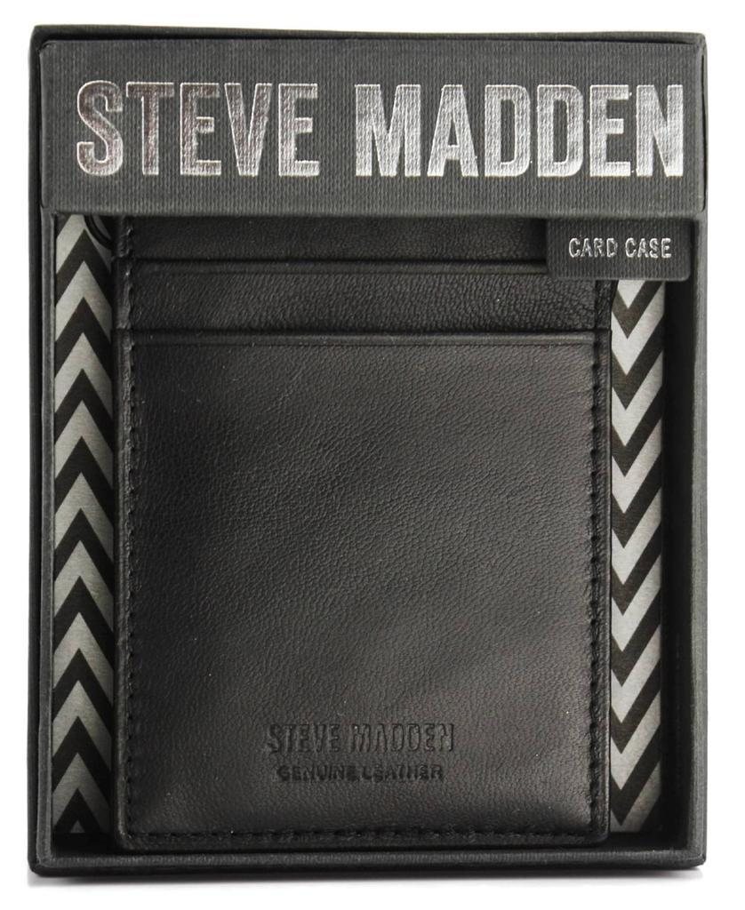NEW STEVE MADDEN MEN'S LEATHER THIN CREDIT CARD CASE ID WALLET BLACK N80006/08