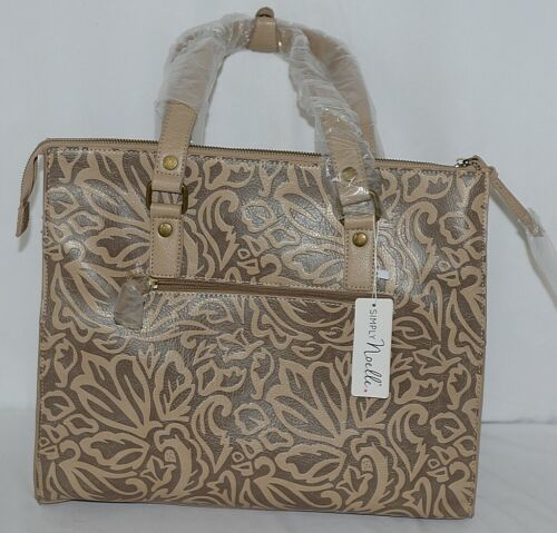 Simply Noelle HB1126A Birch Style Tan Taupe Floral Embossed Womens Purse