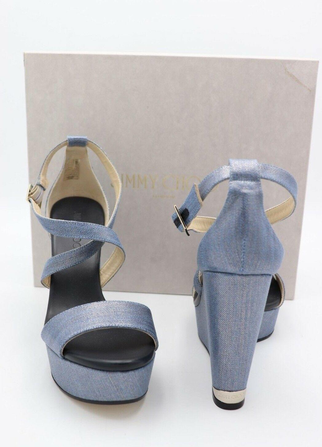 Nib Jimmy Choo Portia Métallique Bleu Denim Sandales Semelle Compensée 11 41 New