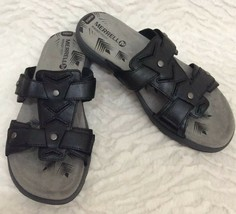 Merrell Womens 'Cement' Black Leather Sandals/ Slides Sz 9 - $19.79