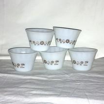 5 Vint Termocrisa Dynaware Milk Glass Ramekins Berry Bowls White w Brown... - $14.84