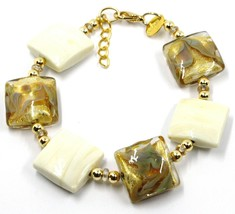 """BRACELET WITH WHITE MURANO SQUARE GLASS & GOLD LEAF, MADE IN ITALY, 19cm, 7.5"""" image 1"""