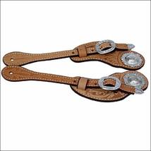 Hilason 5/8In Russet Leather Cowboy Spur Strap Shaped Cut Silver Hardwar... - $34.60
