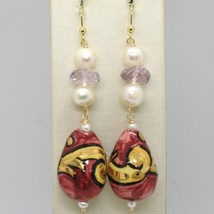 Ohrringe aus Gold Gelb 750 18K Perlen Fw Keramik Bemalt Hand Made IN Italy - $371.35