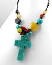 "Large Turquoise Cross & Heart Beaded Boho Necklace 18"" Religious - $14.25"