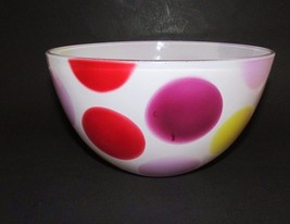"Vintage medium mixing bowl fired on white red yellow purple dots   8 3/8"" - $26.72"
