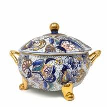 Vintage Ceramic Decorative Hand-painted Gold Trim Soup Tureen Bowl Dish ... - $122.96