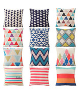 Colorful Geometry Cushion Cover Cotton Linen Throw Pillowcase Car Sofa D... - $4.13