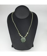"13.9g,2mm-28mm, Green Nephrite Jade Flower Carved Beaded Necklace,16""-18... - $6.34"