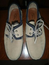 Size 11 Men Tommy Bahama Shoes Boat Deck Loafers TB194 Tan Blue Nubuck - $37.39