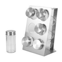 06 Spice Jars Glass Salt Pepper Seasoning Shaker Condiment Cruet Bottles  - $33.98