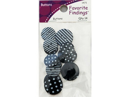 Favorite Findings Dots & Stripes Buttons, 14 Pieces