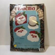 Santa Coasters Plastic Canvas Kit Bucilla 5 Piece Set - $11.64