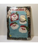 Santa Coasters Plastic Canvas Kit Bucilla 5 Piece Set - $11.64