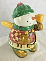 """Sakura Snow Angel Village Cookie Jar  Snowman With Wings And Bell 13"""" Tall - $39.55"""