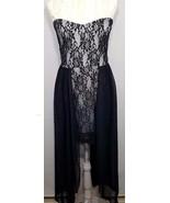 Strapless Black White Lace Sheer Panels Stretch Mini Dress Womens Size L... - $31.33