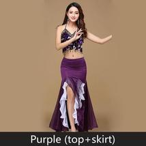 9 Colors Professional Belly Dancer Sequin Beaded Outfits Bra Belt Skirt image 8