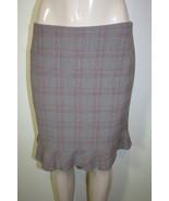 TAHARI Sz 6 Gray Pink Plaid Ruffle Hem Career Pencil Skirt - $14.24
