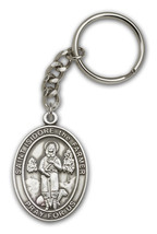 Pewter Antique Silver St. Isidore the Farmer Keychain 1 7/8 x 1 1/4 inch - $18.00