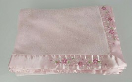 Child of Mine Carters Baby Girl Pink Blanket Embroidered Flower Satin Trim Edge - $59.39