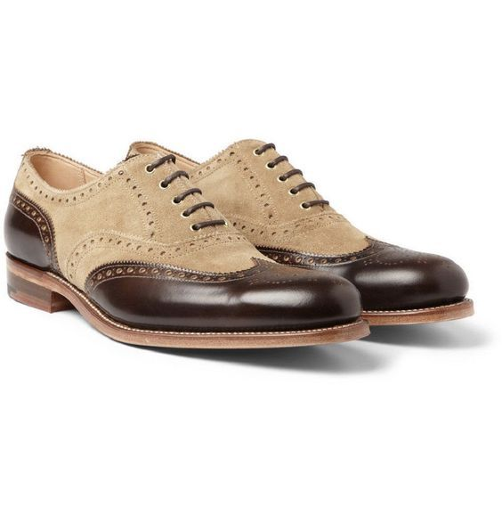 Handmade Men's Wing Tip Brogue Style Brown And Tan Oxford Leather Shoes