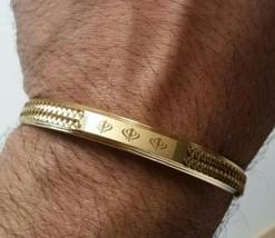 Bañado Oro NUEVO LASER Grabado khandas sij SINGH KHALSA Kara Pulsera Kad... - $12.87