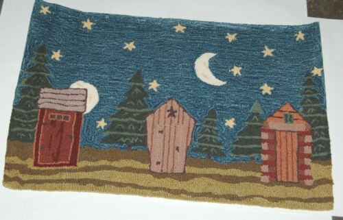 Homefires PYDCB001la Outhouse Under Moon 22 by 34 Inches Area Rug