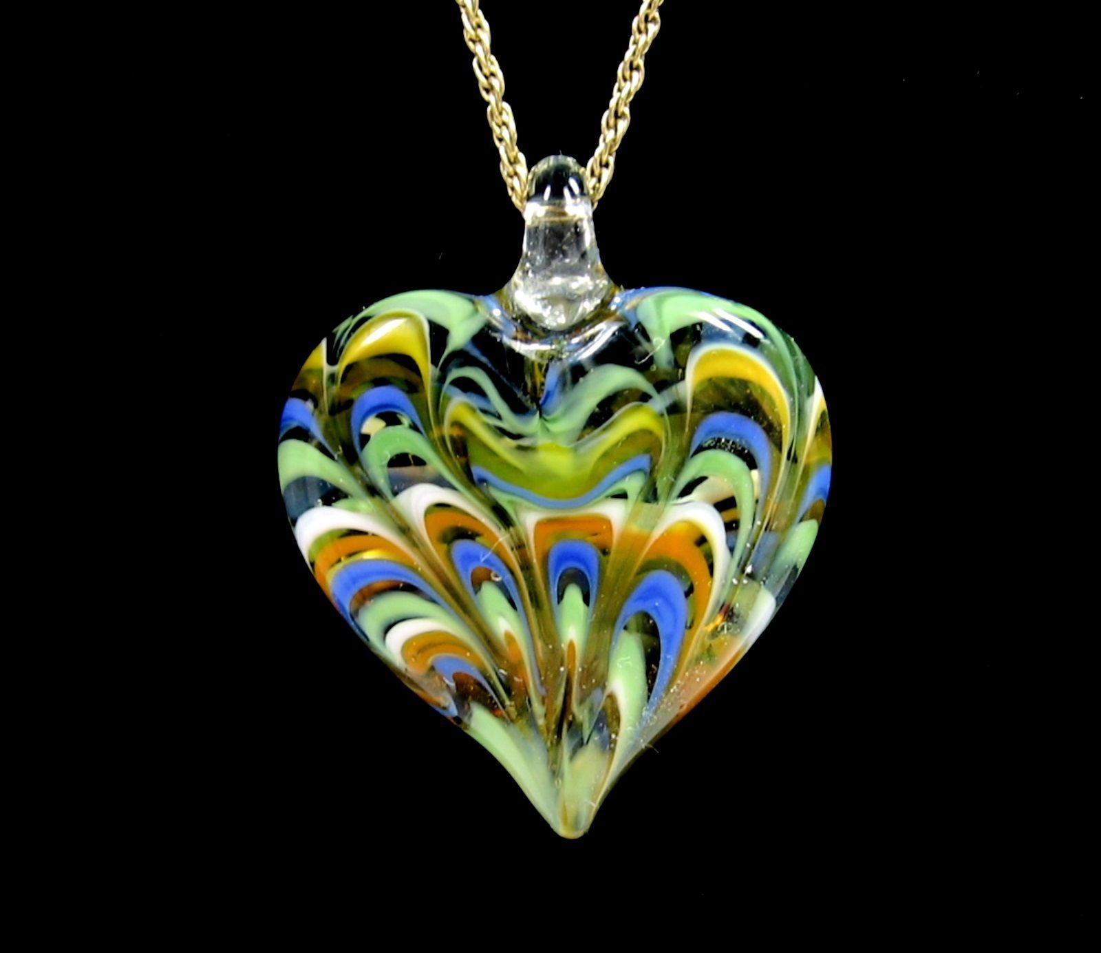"ART GLASS HEART Pendant MONET NECKLACE Vintage Love Blue Green Goldtone 20"""