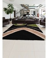 Rugsotic Carpets Contemporary Hand-Tufted Shaggy Polyester Rug Black K00046 - $126.00