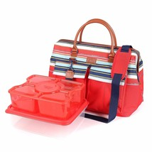 Arctic Zone Insulated Picnic Satchel and Container Set, Red and Blue - $41.08