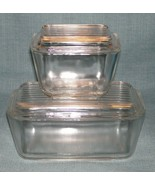 Vintage PYREX Clear Glass Refrigerator Dishes 501 & 502 with Lids -Excel... - $26.95