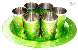 Stainless Steel-Meena Worked 6 Glass -Tray Serving Set Drink Glass Dinin... - $88.83