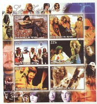 Souvenir Sheet 6 Led Zeppelin 225f Stamps from Africa! Jimmy Page Robert... - $9.89