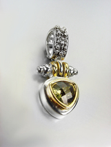 NEW Designer BALINESE Silver Caviar Dots Gold Olive Green Crystal Petite Pendant - $29.99
