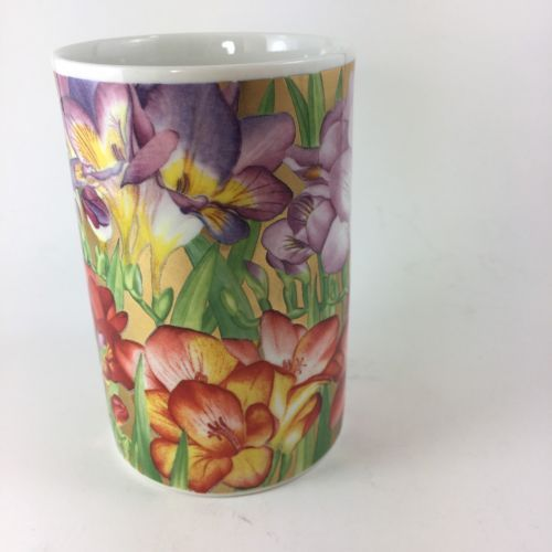 Dunoon Red Purple Gold Flower Floral Coffee Tea Mug Cup Made in Scotland 8 oz