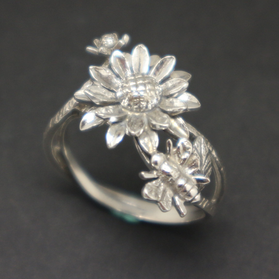 Silver Sunflower and Bee Ring image 4