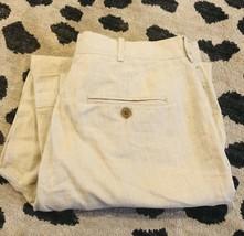 Perry Ellis Ivory Beige Linen Pants Size 36x29 Pleated Cuffed 36 - $17.42