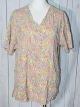 Nu Dimension Women's Tan Rainbow Short Sleeve Scrubs Size L - $16.82