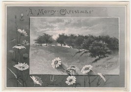 Vintage Christmas Card Field Daisies Trees Victorian John A. Lowell and ... - $14.84