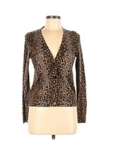Talbots Womens Animal Print Button Front Cardigan Sweater Size Medium Pe... - $18.81