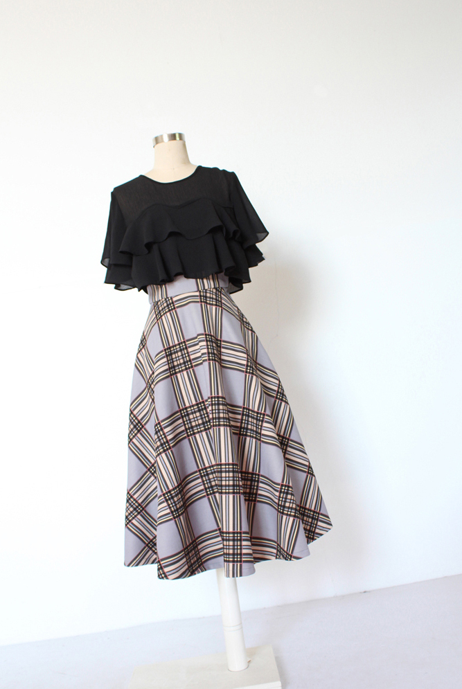 GRAY Plaid A Line Pleated Skirt High Waist Autumn Tea Length Midi Skirt US0-US20
