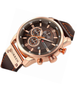 Men Leather Strap Military Watch Chronograph Waterproof Sport Wrist Date... - $67.89+