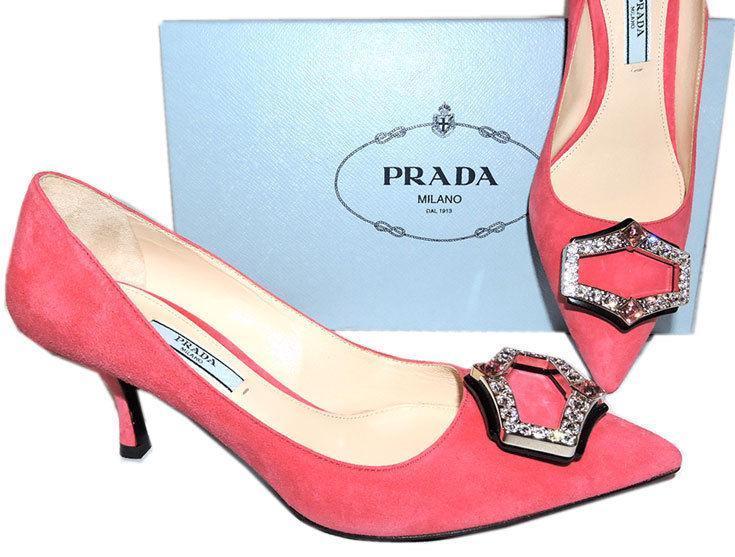1543d90e0b Prada Pink Suede Kitten Heel Pumps Crystals and 50 similar items. 6187