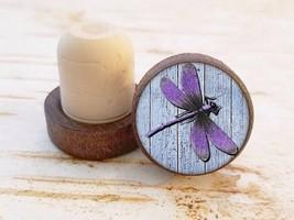 Purple Dragonfly Wine Stopper, Bottle Stopper, Dark Wood Cork Bottle Sto... - $8.86