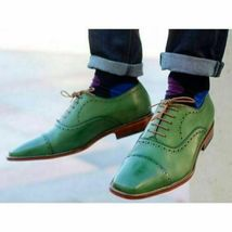 Handmade Men's Green Leather Lace Up Dress/Formal Oxford Shoes image 4
