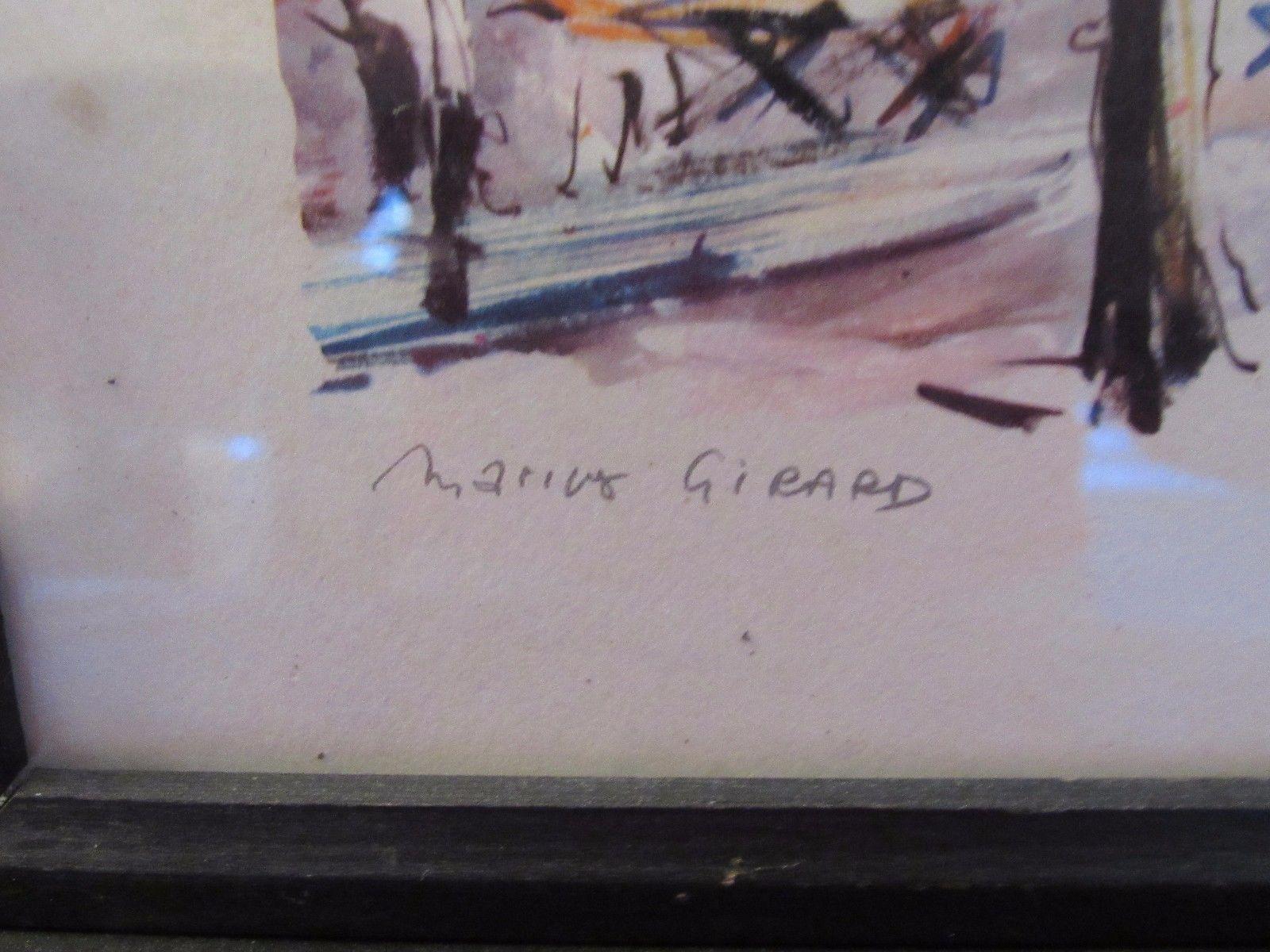 """Vtg 12.5"""" by 9.5"""" Marius Girard Signed Watercolor print Paris La Place du Tertre"""
