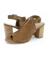 J. Shoes Womens US 8.5 Brown Suede Slingback Peep Toe Stacked Heel Sanda... - $39.99
