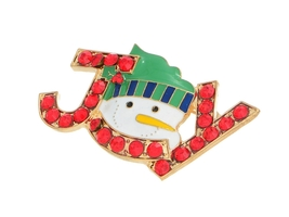 Snowman Joy Accented Holiday Pin Brooch - $9.95