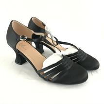 Ellie Womens Heels T Strap Satin Buckle Dressy Black Size 10 - $24.18